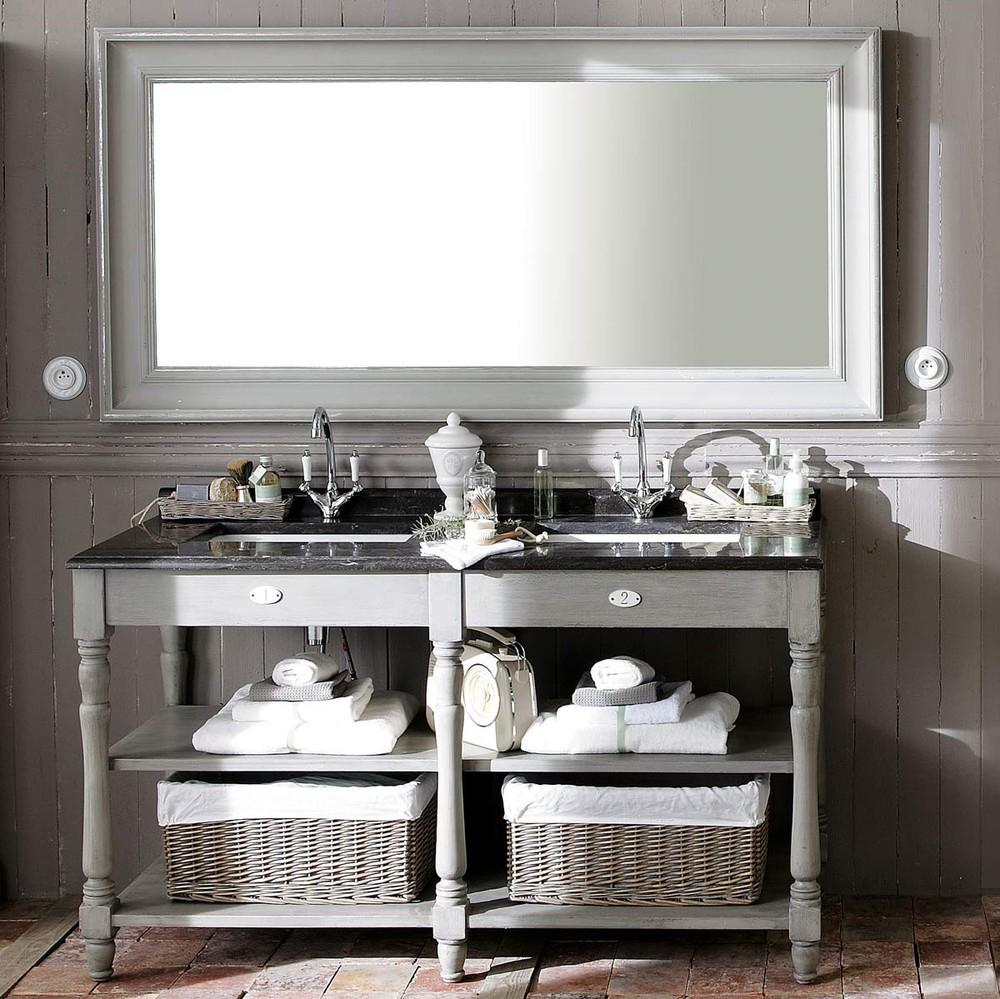 Espejo de madera gris al 180 cm sully maisons du monde for Espejo marco gris