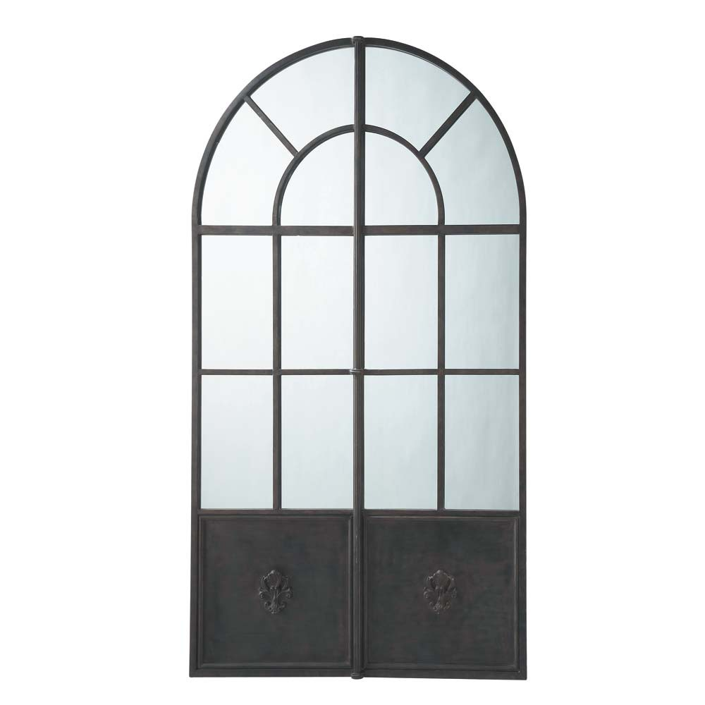 Espejo de metal negro al 211 cm maine maisons du monde for Miroir metal