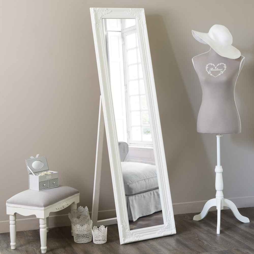 Espejo de pie blanco al 164 cm enzo maisons du monde for Espejos de pie en madera