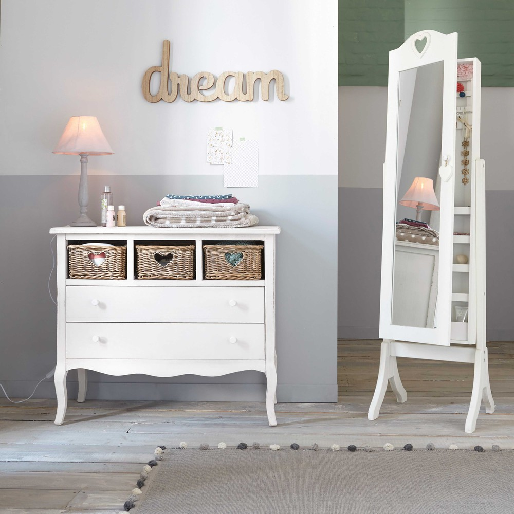 Espejo de pie con almacenaje blanco al 160 cm valentine for Espejo con almacenaje