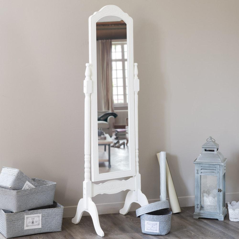 Espejo de pie de madera de paulonia blanca al 169 cm for Espejo pie madera