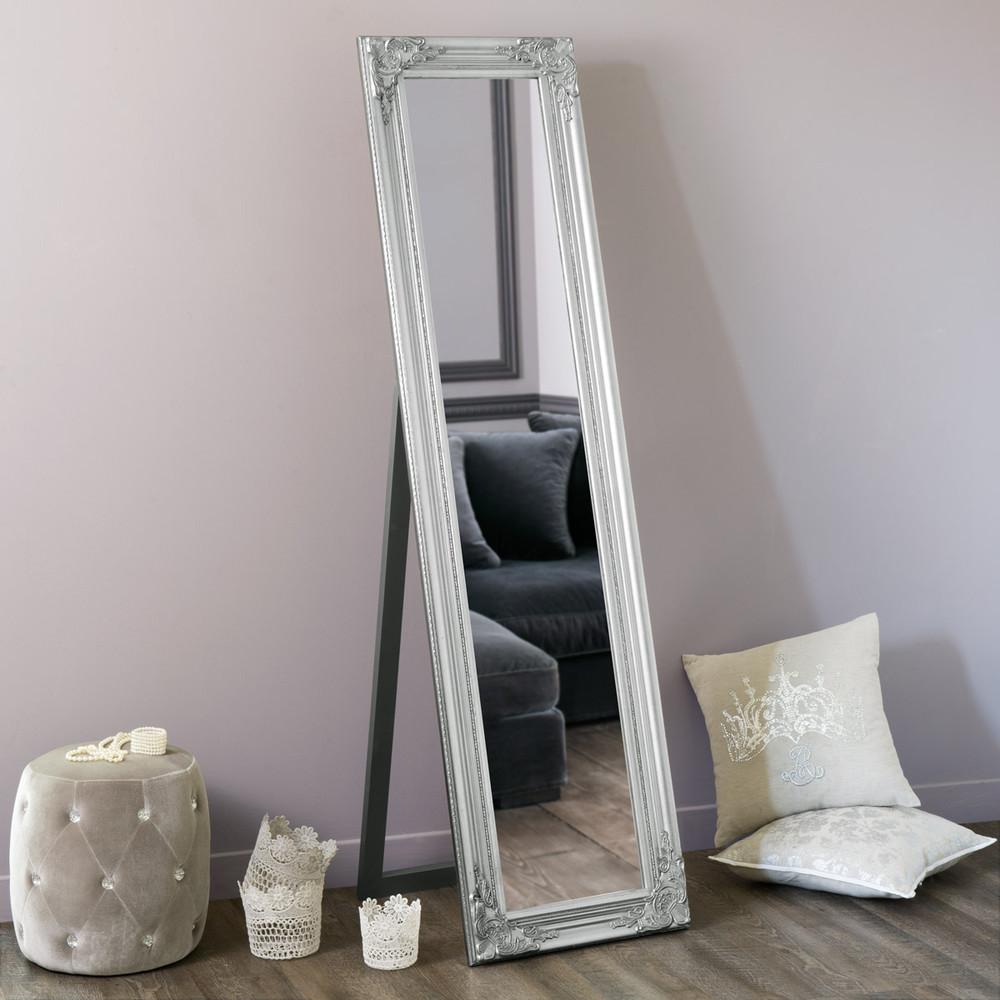 Espejo de pie plateado h 164 cm enzo maisons du monde for Espejo ovalado de pie