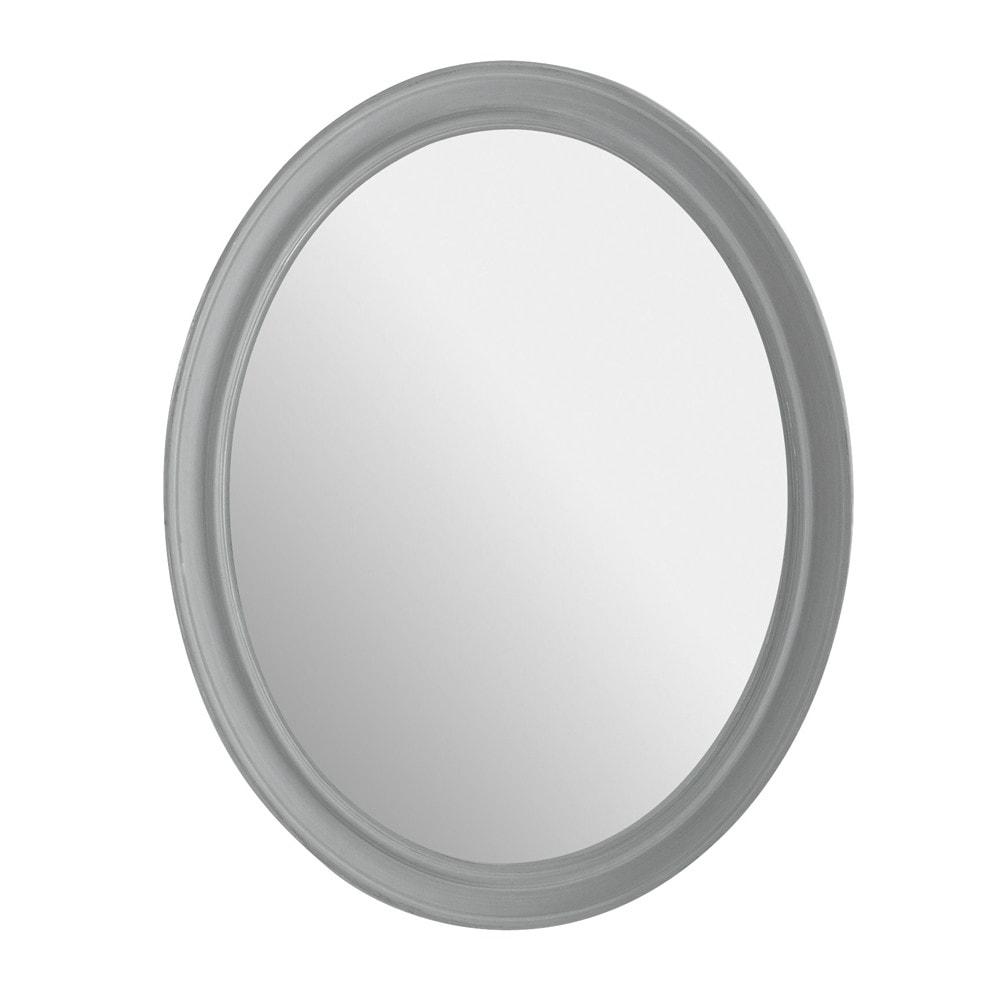 Espejo elianne ovalado gris maisons du monde for Espejo marco gris