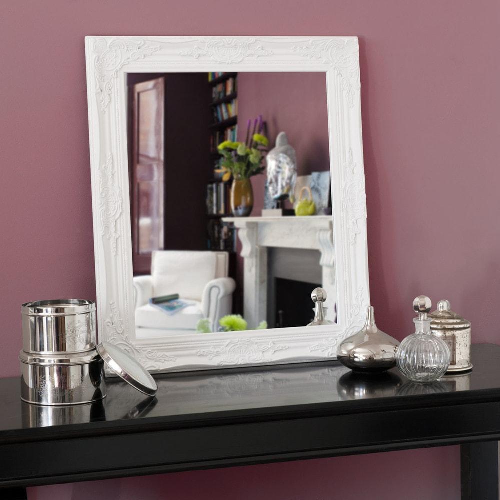 Espejo enzo blanco 73x63 maisons du monde for Espejo ovalado blanco