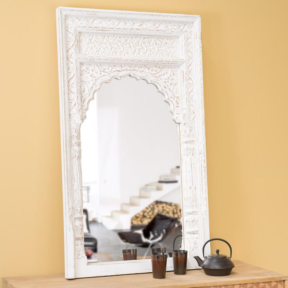 Espejo indio de madera blanqueada al 122 cm gandhi - Espejos la maison du monde ...