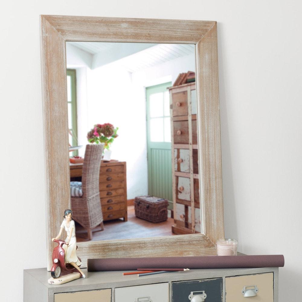 Espejo lacado de madera de paulonia al 90 cm natura - Lacado de madera ...