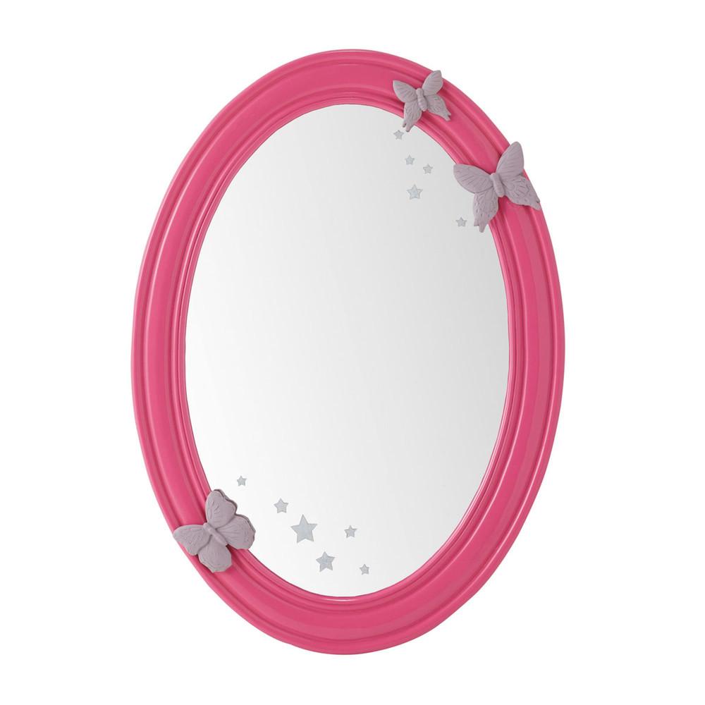 Espejo ovalado con marco de madera rosa al 55 cm poetik for Espejo maison du monde