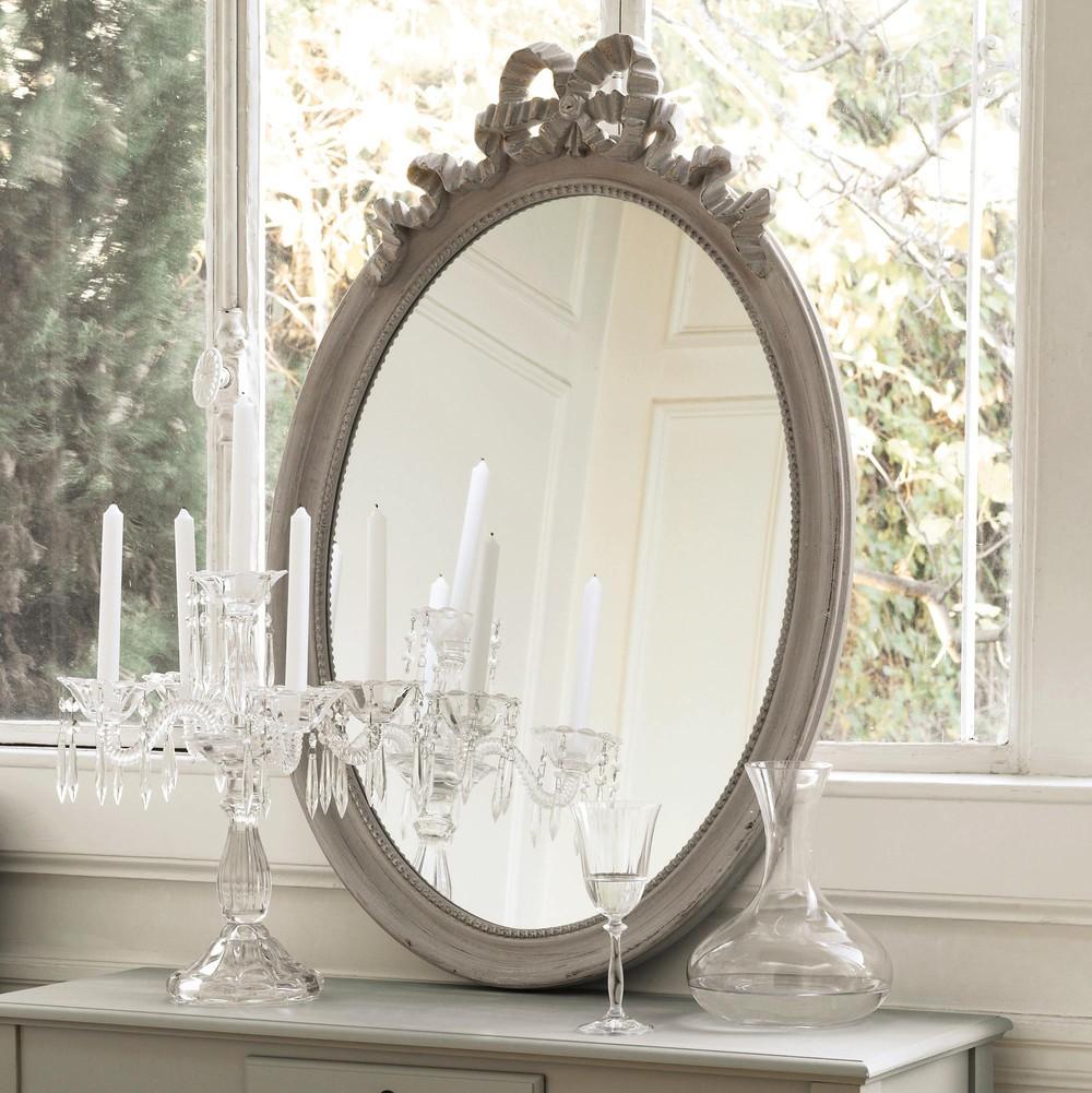Espejo ovalado de madera gris topo al 95 cm bianca for Espejo ovalado madera