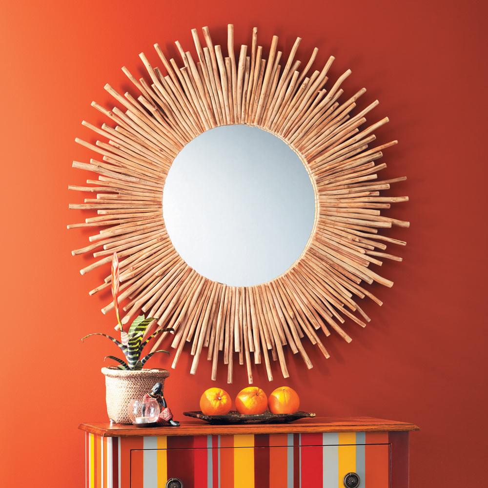 Espejo redondo de madera de deriva d 110 cm kampar for Espejos redondos de madera