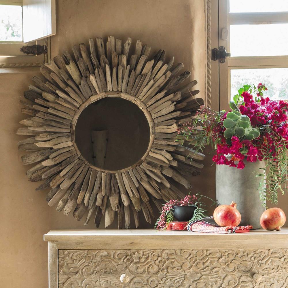 Espejo redondo de madera de deriva di m 74 cm karukera for Espejo redondo madera