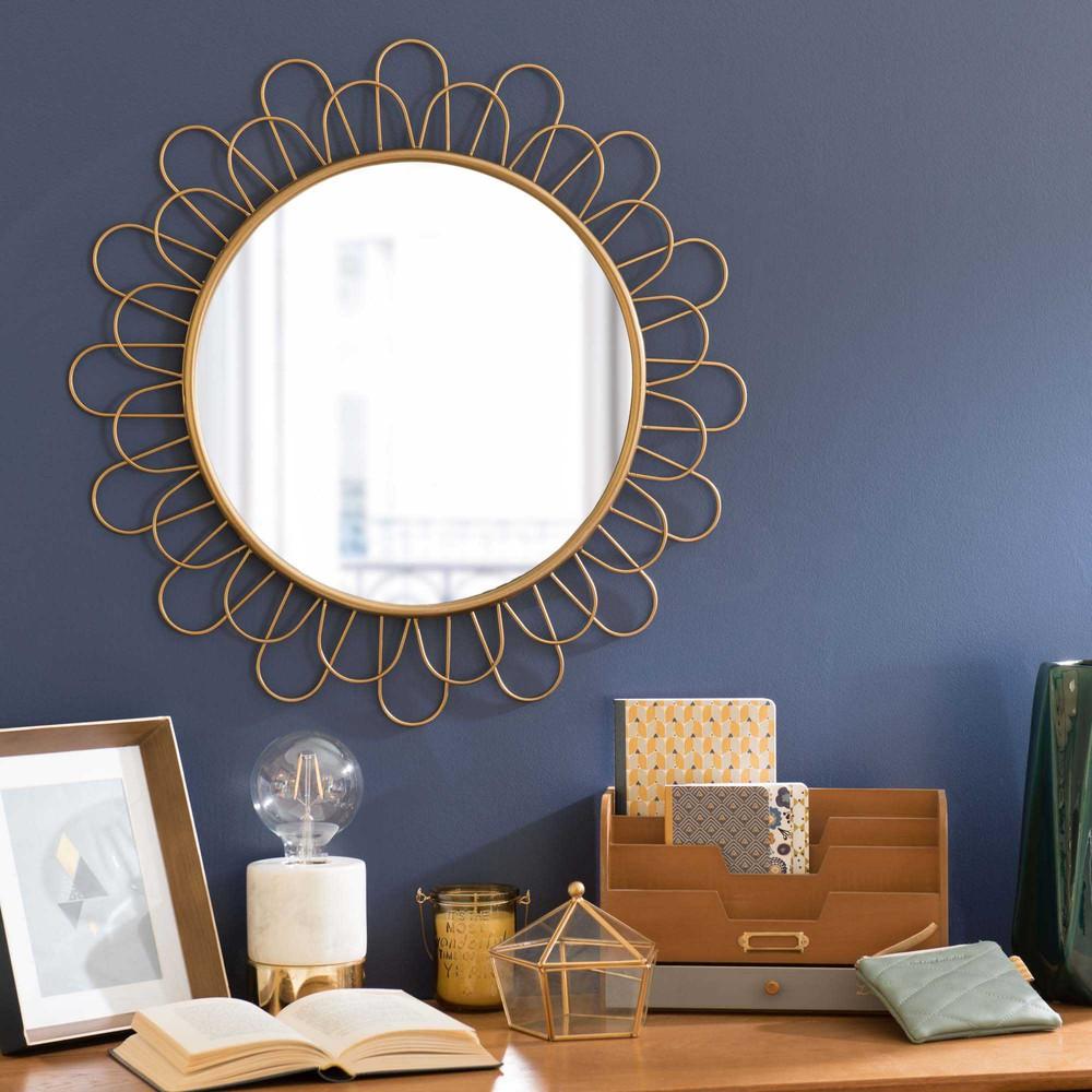 Espejo redondo de metal d 60 cm flower cavendish maisons for Decoracion espejos redondos