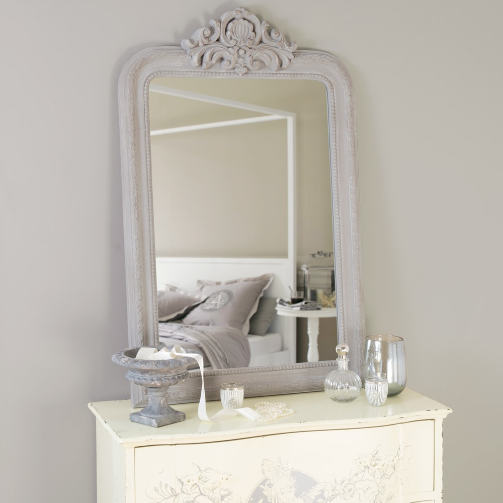 Espejo tallado de madera de paulonia gris al 120 cm for Offre maison du monde