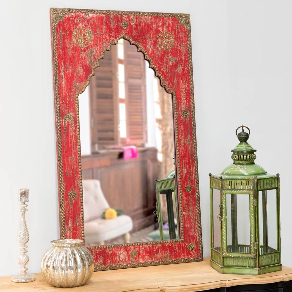espejo tallado de madera rojo al 110 cm anish maisons du monde. Black Bedroom Furniture Sets. Home Design Ideas