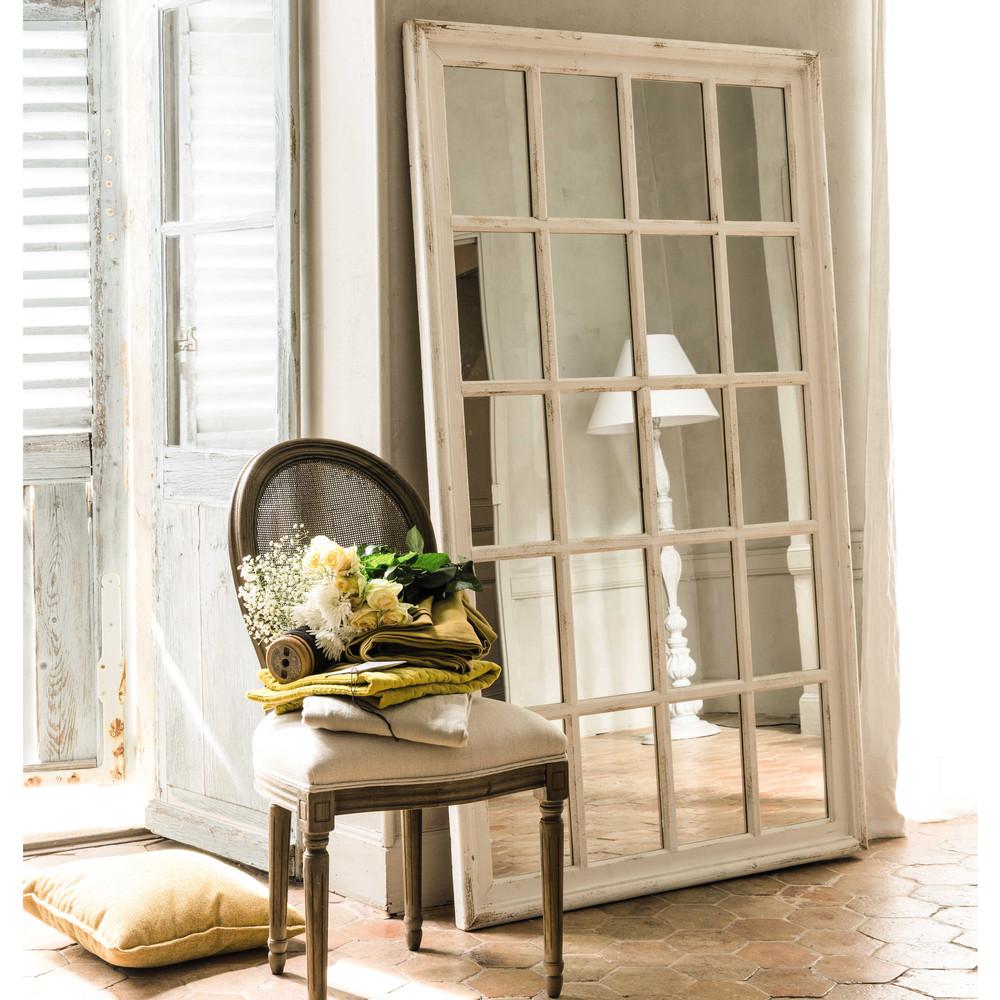 Espejo ventana con marco de madera blanca al 175 cm for Espejos con marco de madera blanco