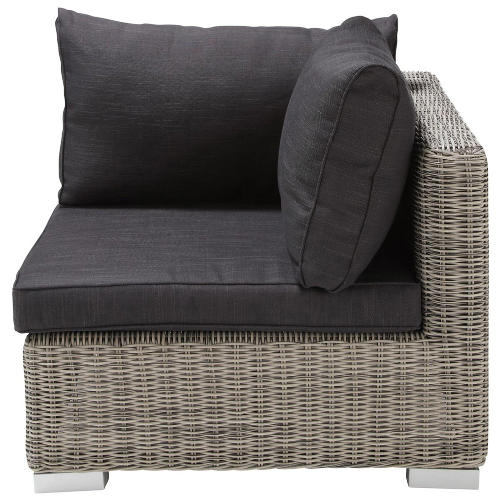 Esquina de sof de jard n de resina trenzada gris cape for Sofa esquinero jardin