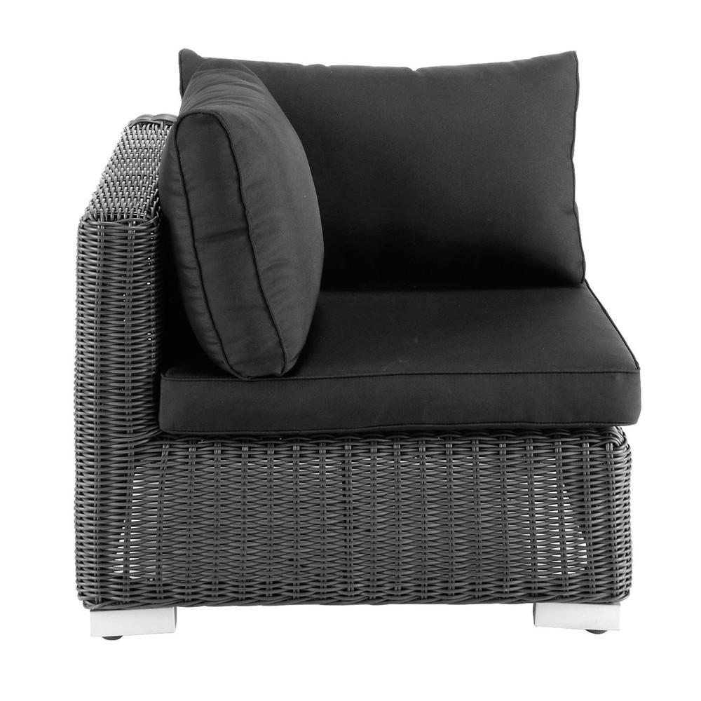 Esquina de sof de jard n de resina trenzada negro ceniza for Sofa exterior esquina