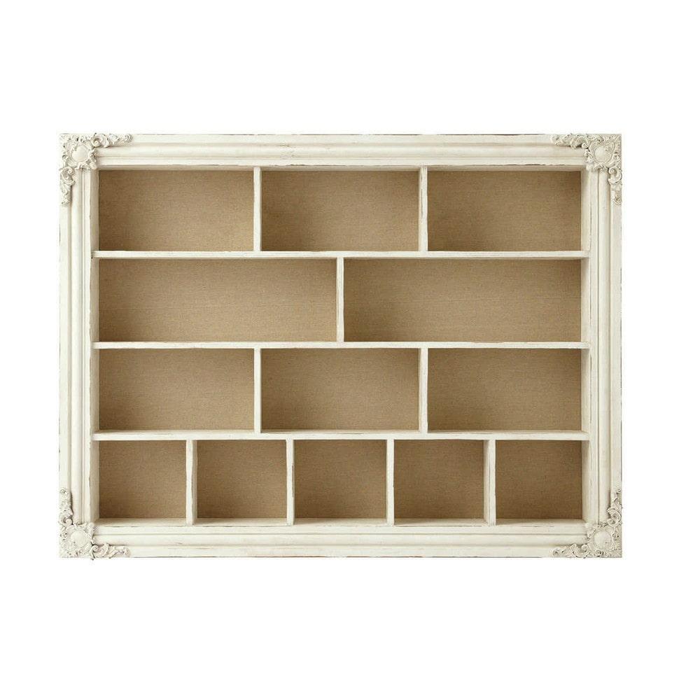 Estanter a blanca de madera efecto envejecido an 102 cm - Como hacer estanterias de madera ...
