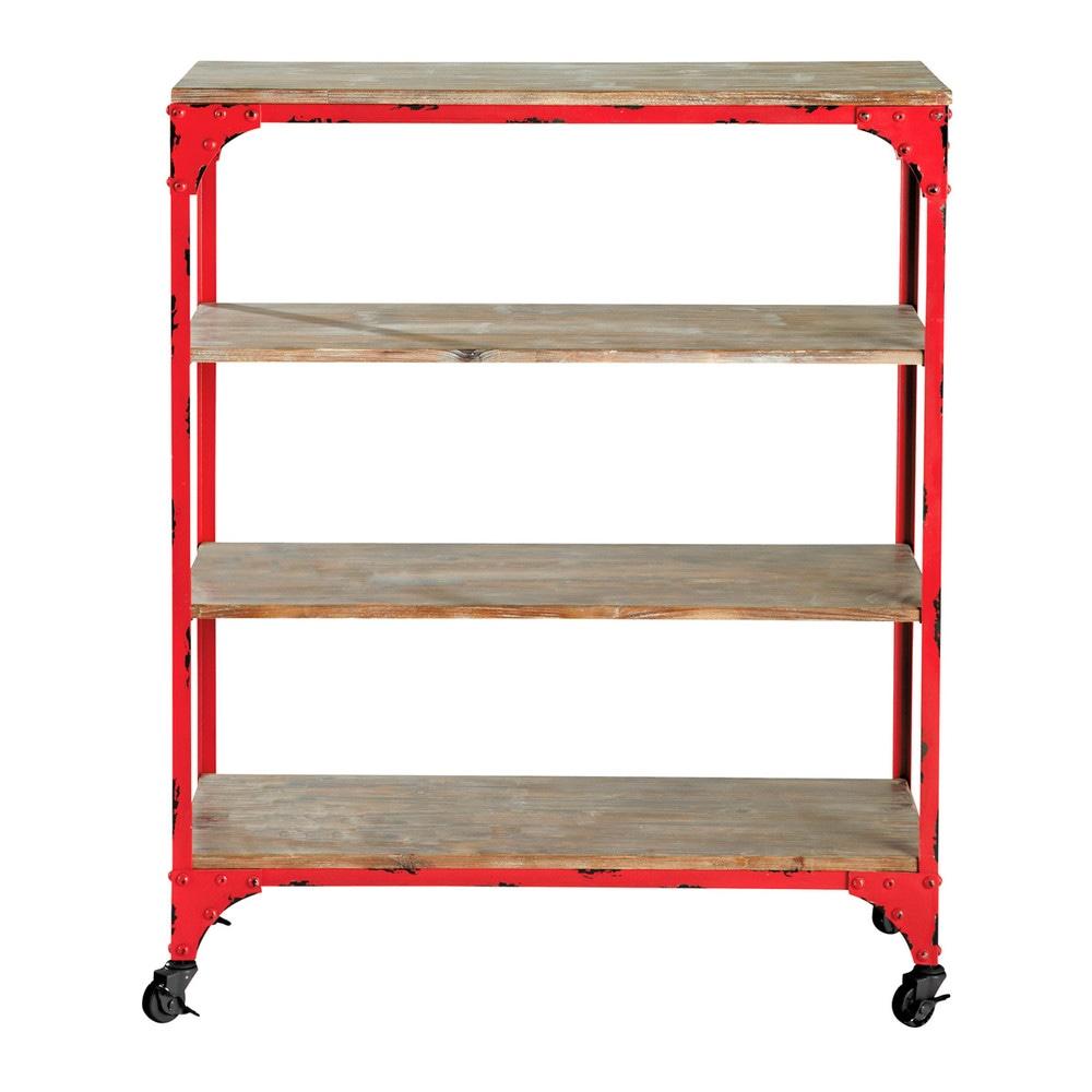 Estanter a consola con ruedas de estilo industrial roja for Consola estilo industrial