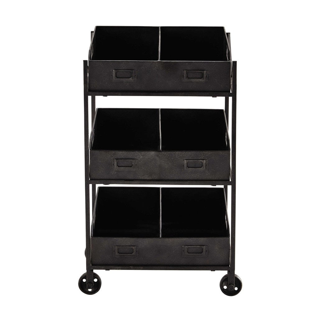 tag re roulettes en m tal noire h 71 cm rudy maisons du monde. Black Bedroom Furniture Sets. Home Design Ideas