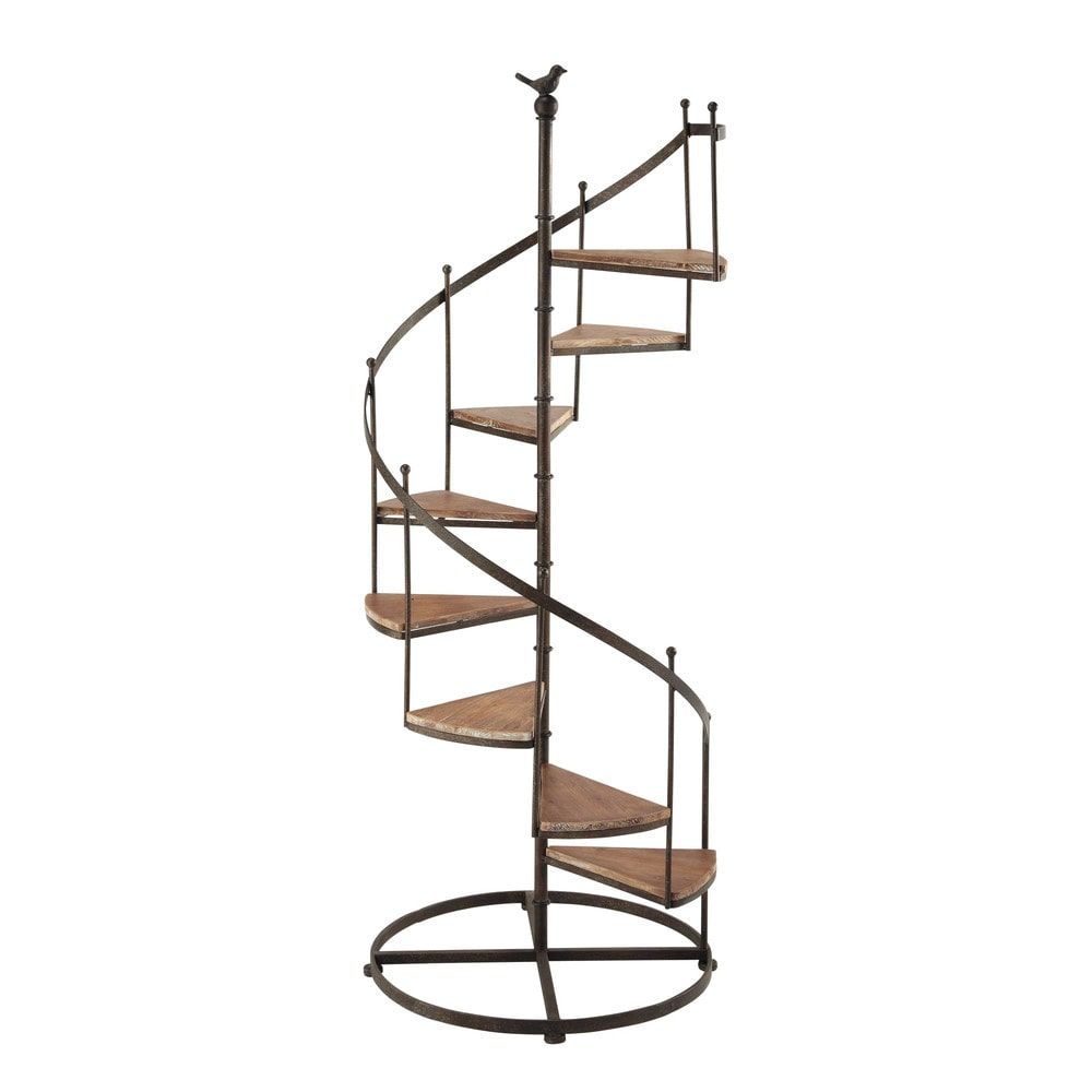 tag re escalier en m tal et bois effet rouille l 53 cm castellane maisons du monde. Black Bedroom Furniture Sets. Home Design Ideas