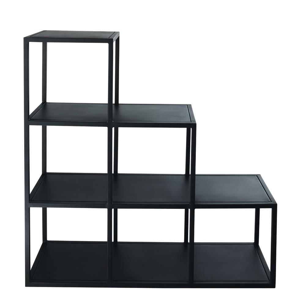 Tag re indus en m tal noire l 105 cm edison maisons du monde - Etageres modulables en metal ...