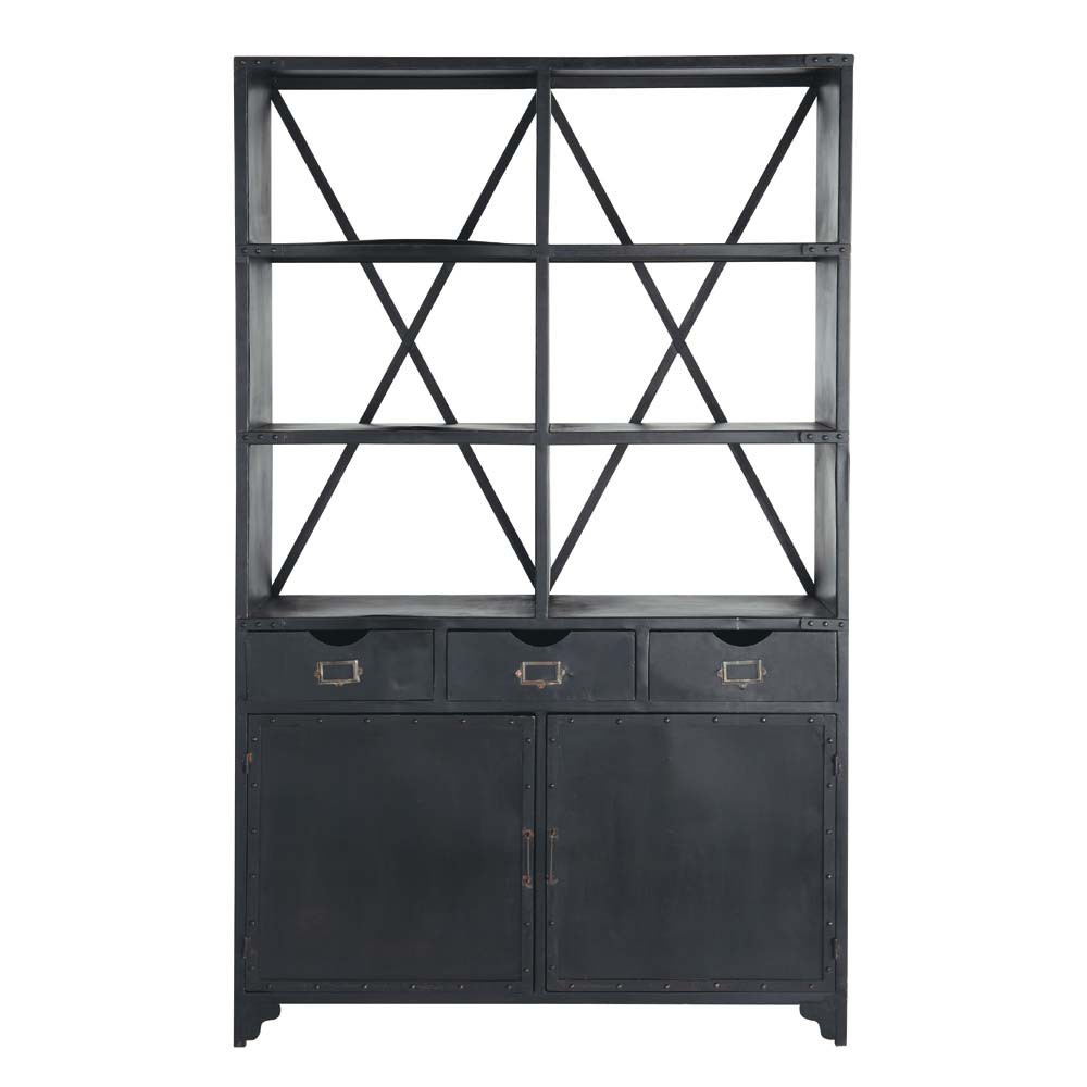 tag re indus en m tal noire l 130 cm edison maisons du monde. Black Bedroom Furniture Sets. Home Design Ideas