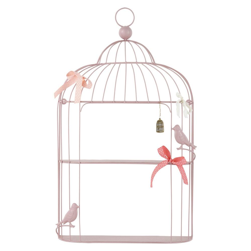 Tag re murale cage en m tal rose h 70 cm poetik maisons - Etagere murale maison du monde ...