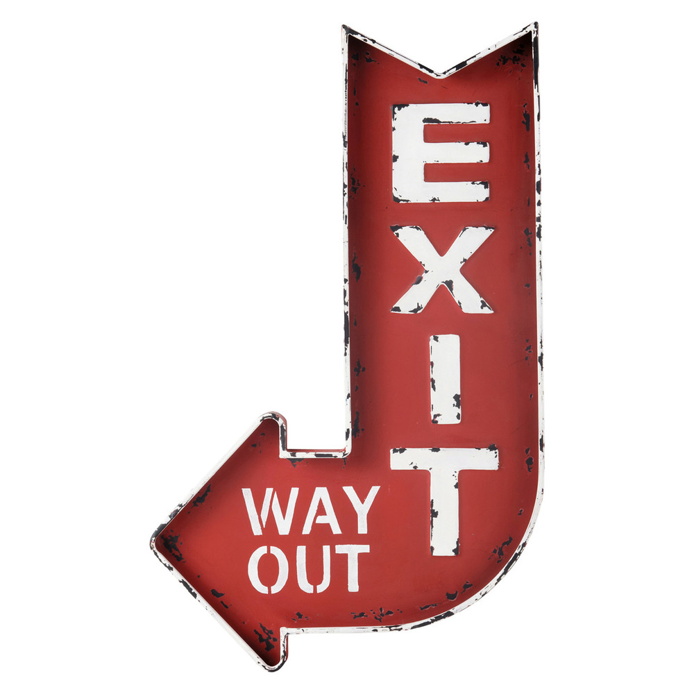 exit metal wall sign in red h 81cm maisons du monde. Black Bedroom Furniture Sets. Home Design Ideas