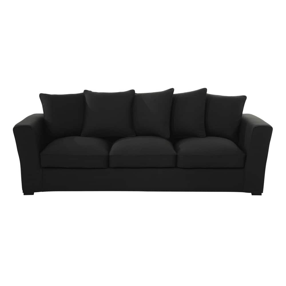 Fabric 4 seater sofa charcoal grey balthazar maisons du for Charcoal sofa