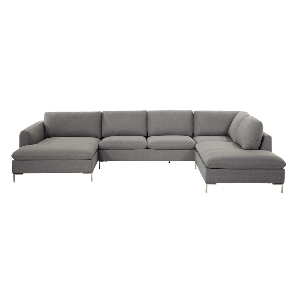 Fabric 7 seater corner sofa light grey city maisons du for Sofa 7 seater