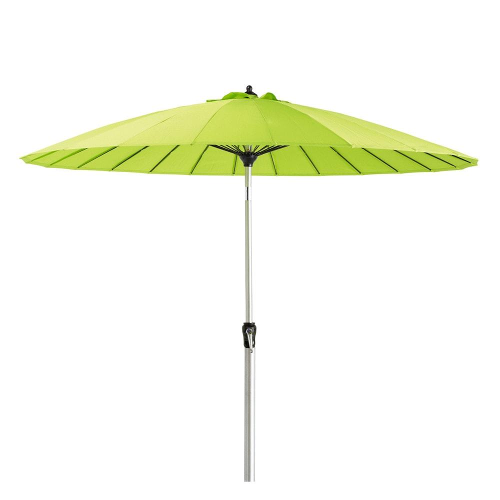 Fabric and aluminium parasol in green papaye maisons du - Parasol deporte aluminium ...