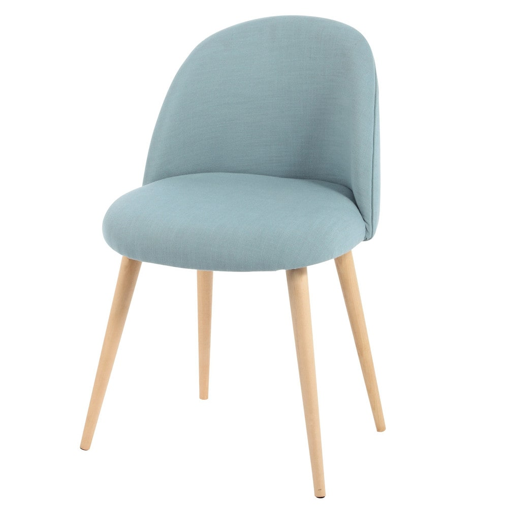 Fabric and solid birch vintage chair in blue mauricette for Table cuisine 2 chaises