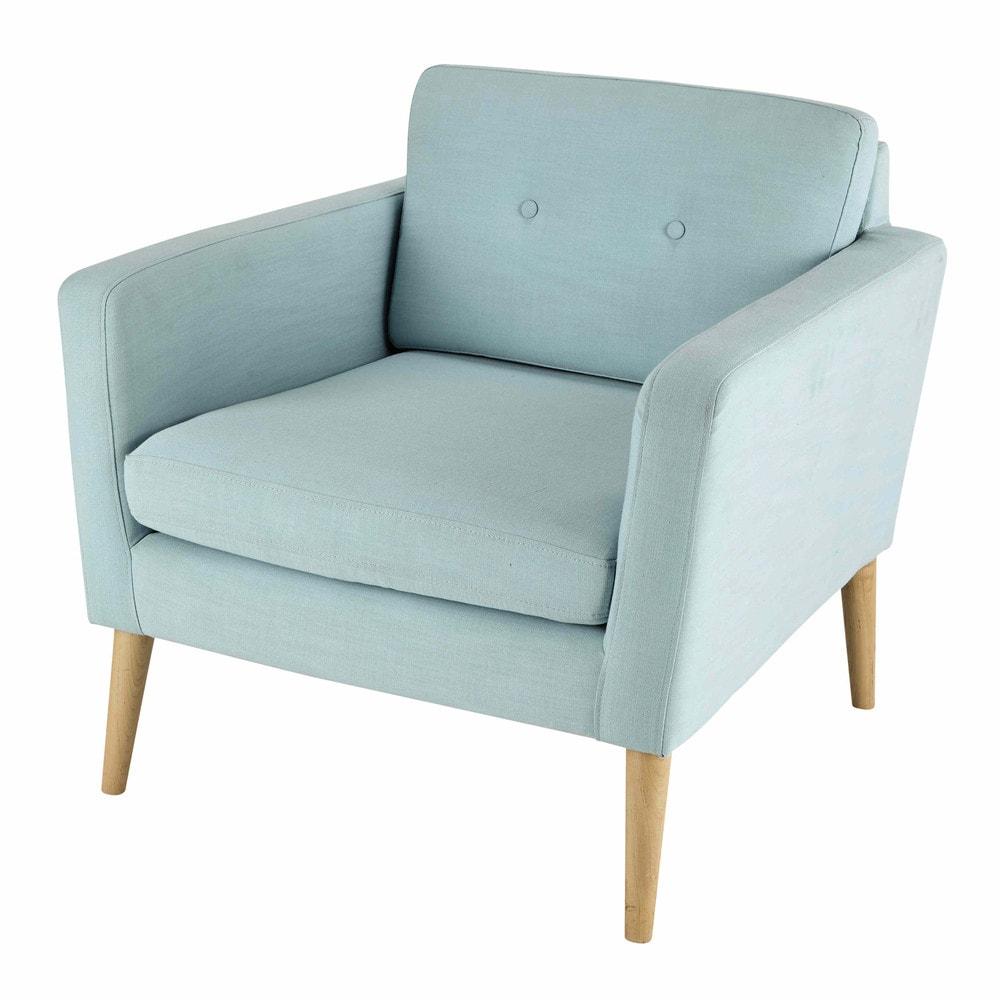 Fabric vintage armchair in light blue noe maisons du monde for Light blue armchair