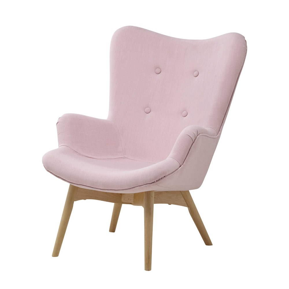 Fabric Vintage Child S Armchair In Pink Iceberg Maisons