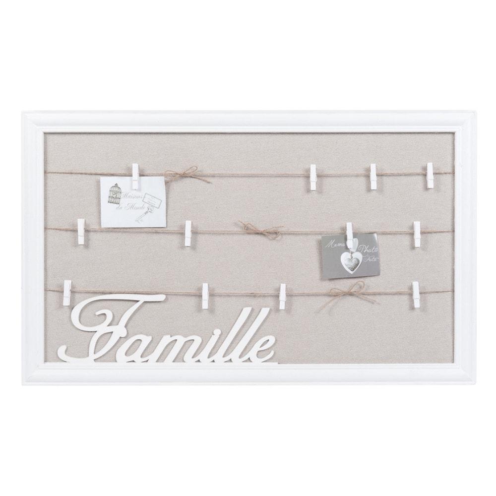 familles photo memo board in white 38 x 64cm maisons du monde. Black Bedroom Furniture Sets. Home Design Ideas
