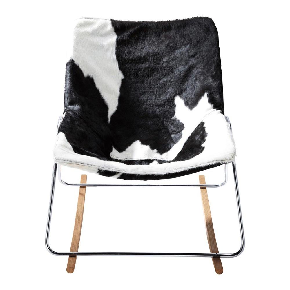 Fauteuil bascule en tissu noir et blanc g1 maisons du monde - Fauteuil tissu blanc ...