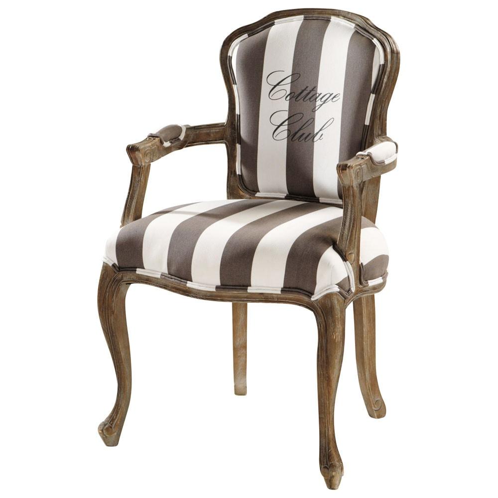 fauteuil rayures en coton gris et blanc cottage club maisons du monde