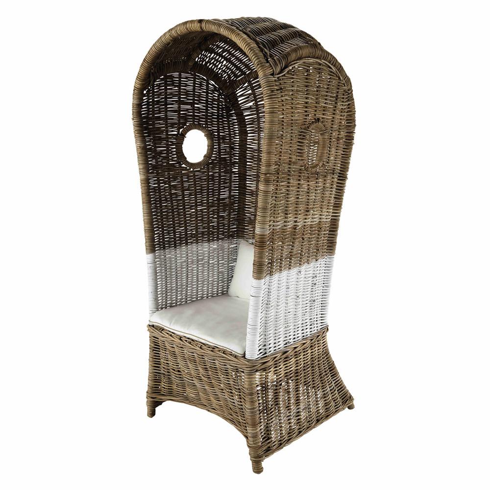 fauteuil avec dossier haut en rotin kabin maisons du monde. Black Bedroom Furniture Sets. Home Design Ideas