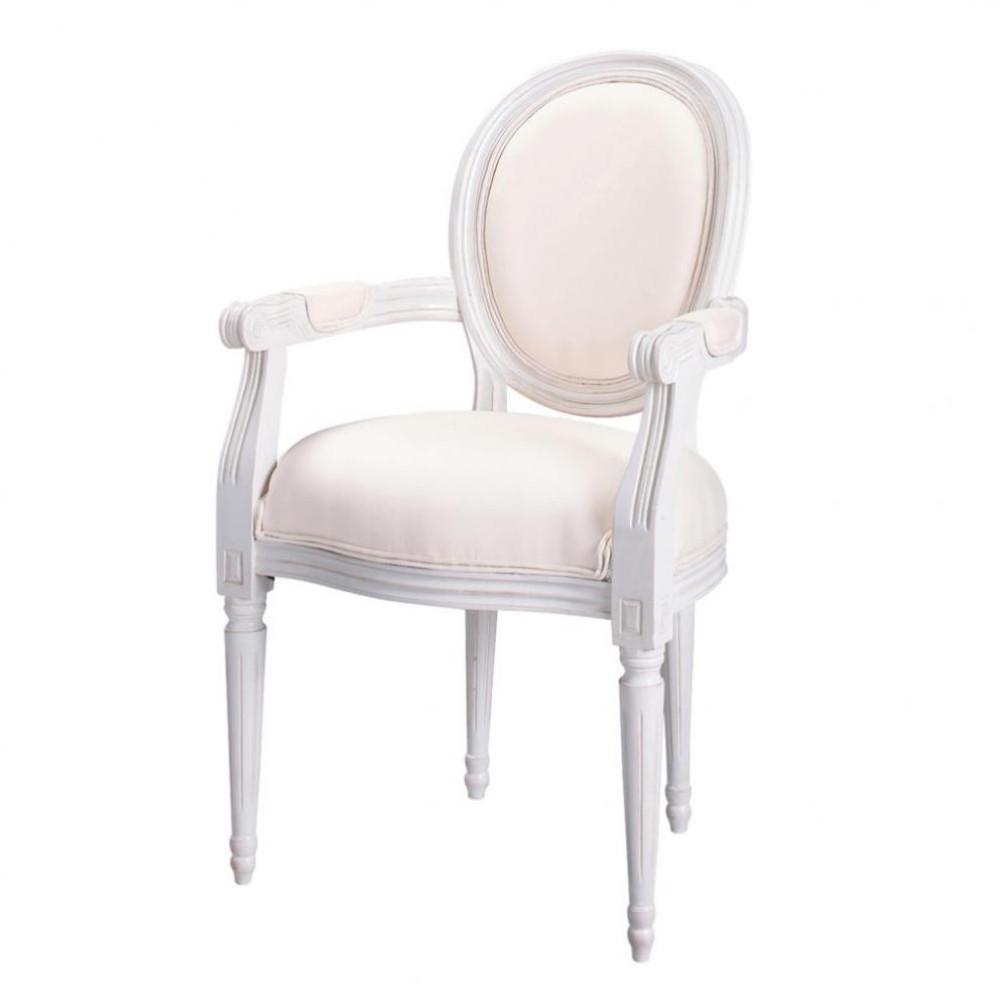 Fauteuil cabriolet en coton ivoire louis maisons du monde - Maisons du monde fauteuil ...