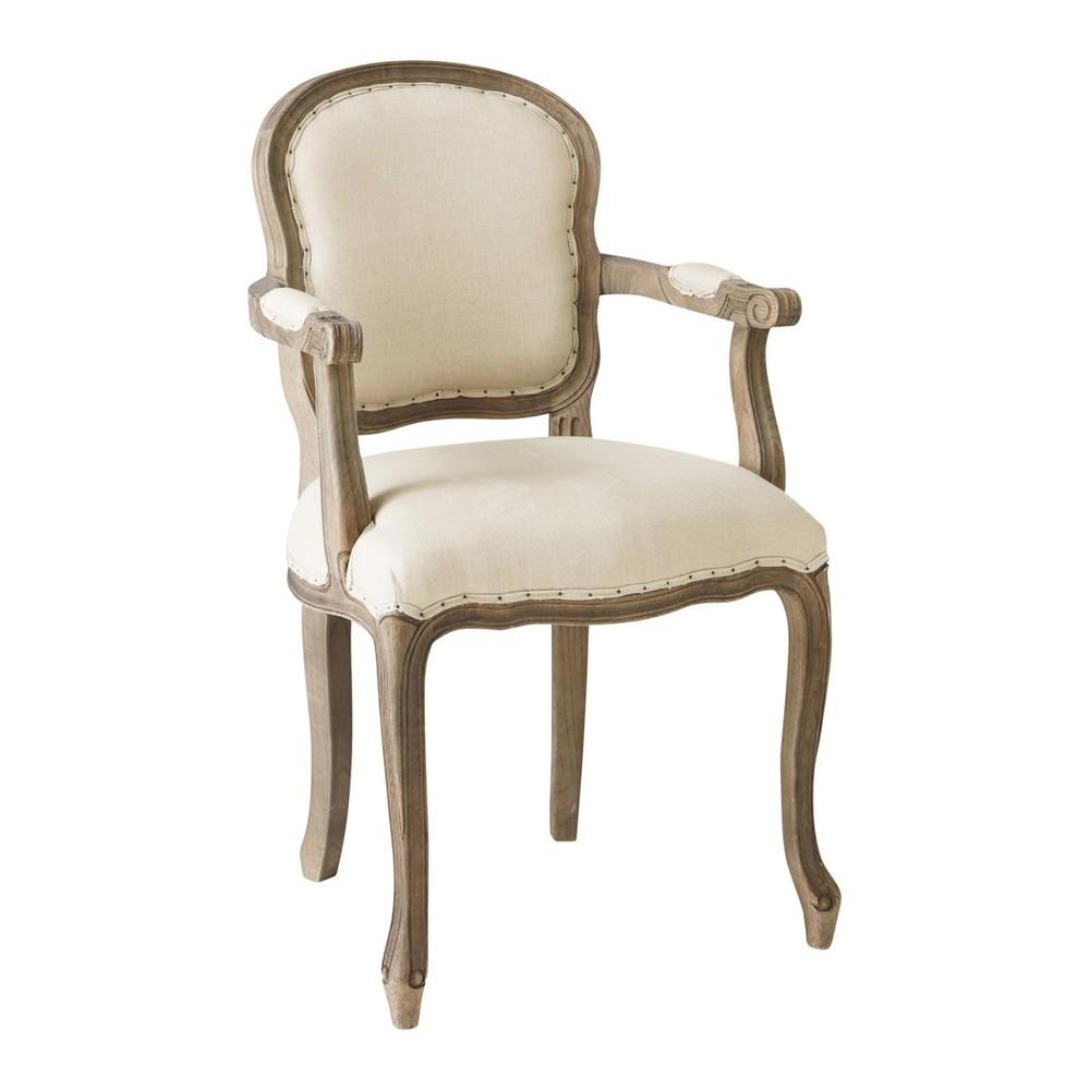fauteuil cabriolet en lin beige versailles maisons du monde. Black Bedroom Furniture Sets. Home Design Ideas