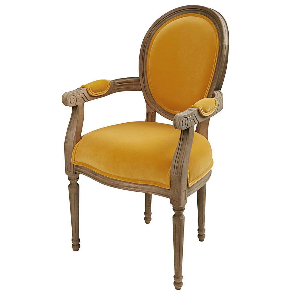 d licieux fauteuil cabriolet maison du monde 7 fauteuil cabriolet en velours ocre et chene. Black Bedroom Furniture Sets. Home Design Ideas