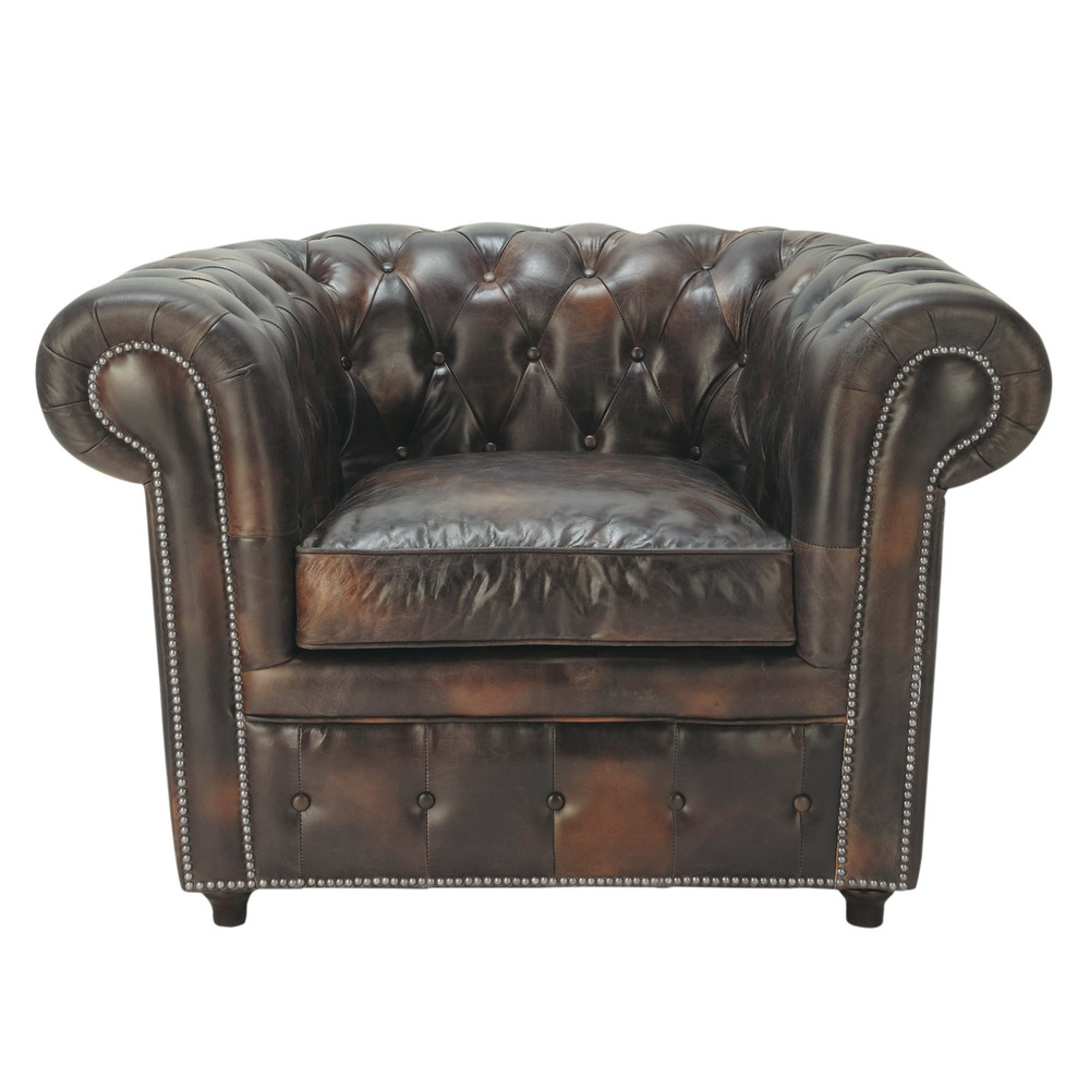 fauteuil capitonn chesterfield en cuir moka vintage maisons du monde. Black Bedroom Furniture Sets. Home Design Ideas