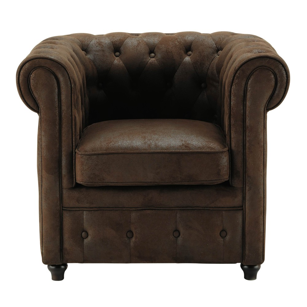 fauteuil capitonn en microfibre marron chesterfield maisons du monde. Black Bedroom Furniture Sets. Home Design Ideas