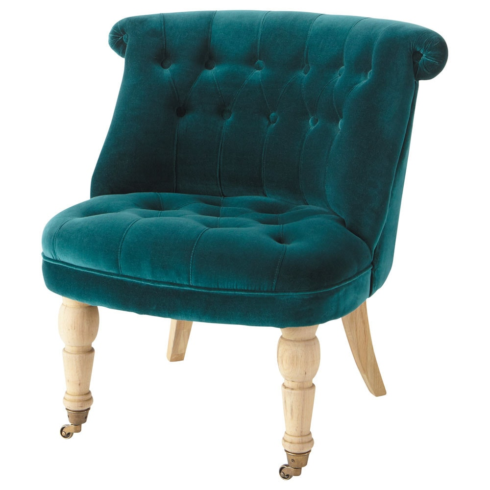 fauteuil capitonn en velours bleu canard constantin maisons du monde. Black Bedroom Furniture Sets. Home Design Ideas