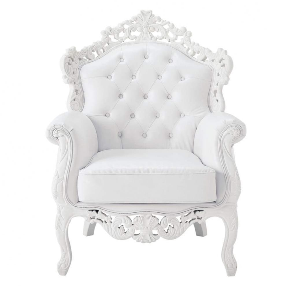 fauteuil capitonn imitation cuir blanc barocco maisons. Black Bedroom Furniture Sets. Home Design Ideas