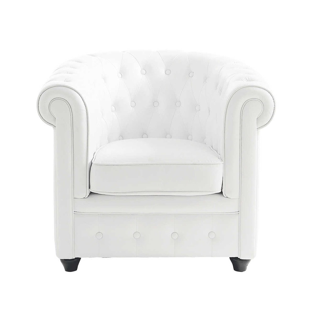 fauteuil capitonn imitation cuir blanc chesterfield maisons du monde. Black Bedroom Furniture Sets. Home Design Ideas