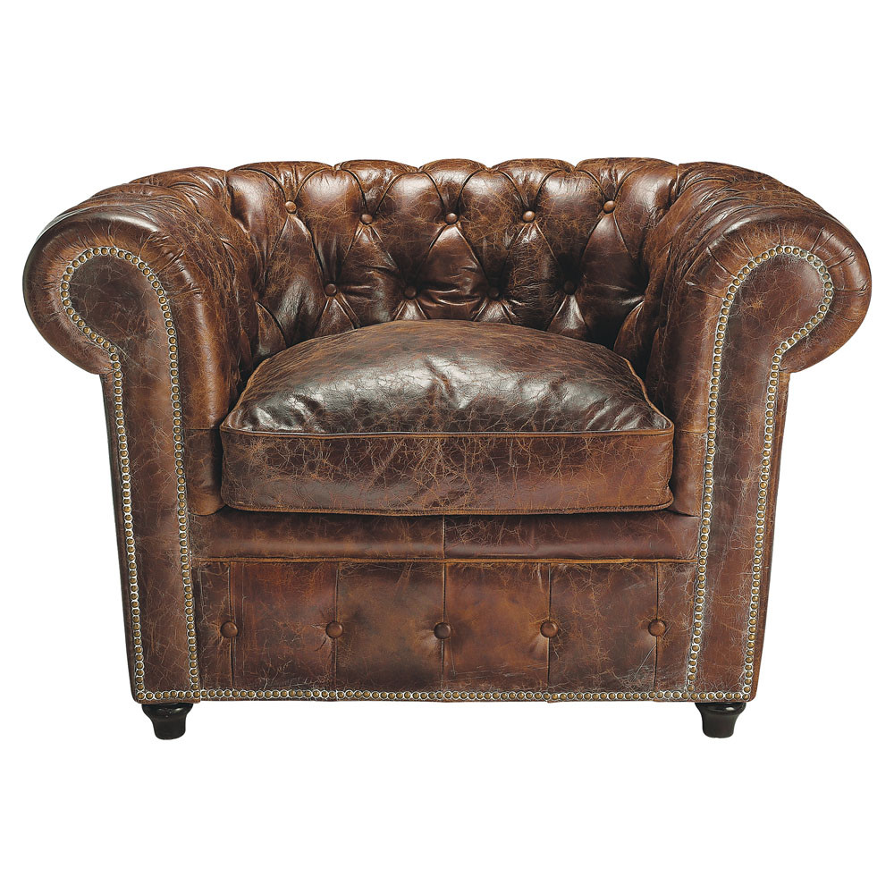 fauteuil chesterfield capitonn en cuir marron vintage. Black Bedroom Furniture Sets. Home Design Ideas