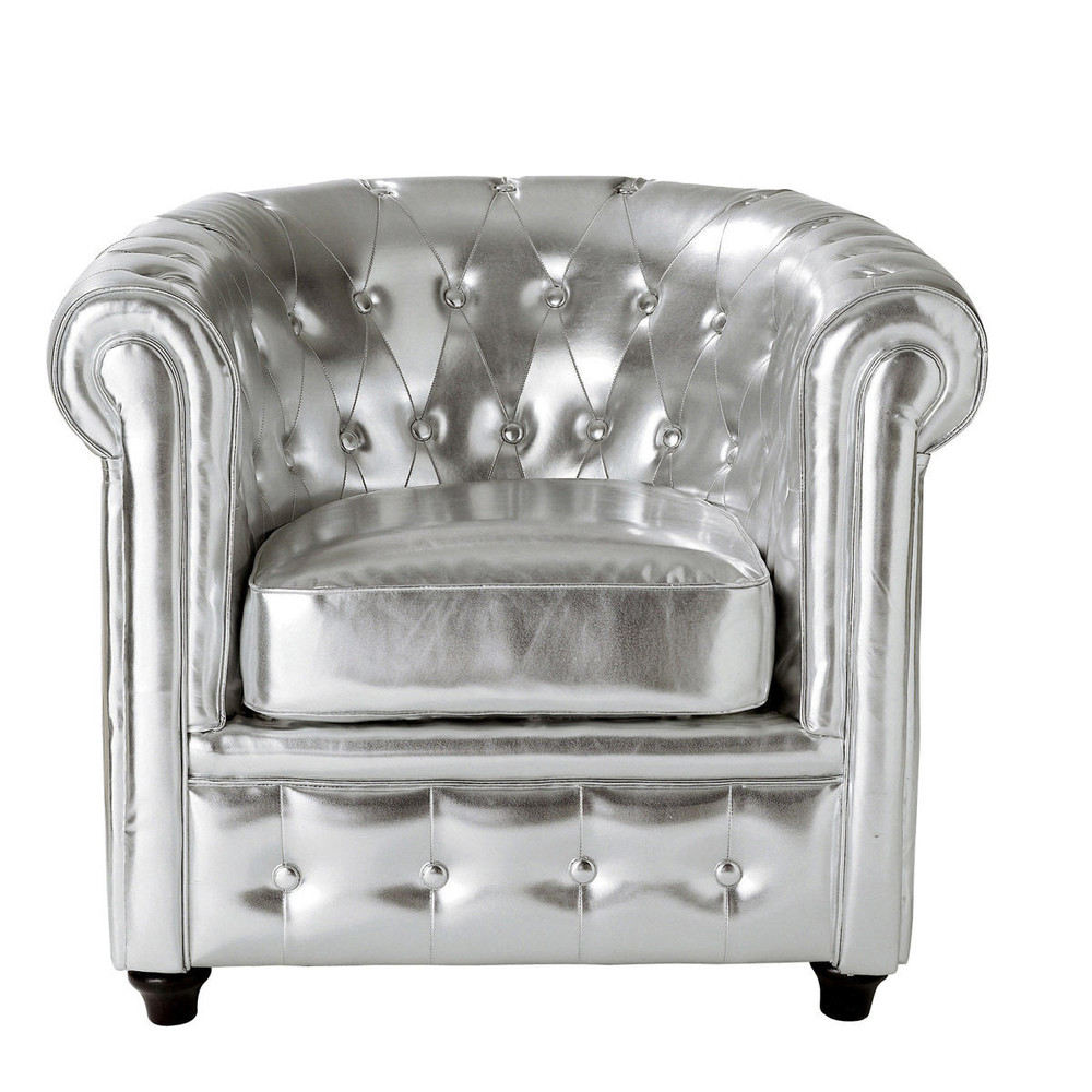 fauteuil club capitonn argent chesterfield maisons du. Black Bedroom Furniture Sets. Home Design Ideas