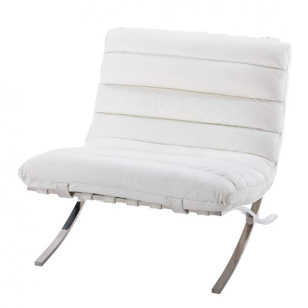 fauteuil cuir blanc beaubourg maisons du monde. Black Bedroom Furniture Sets. Home Design Ideas