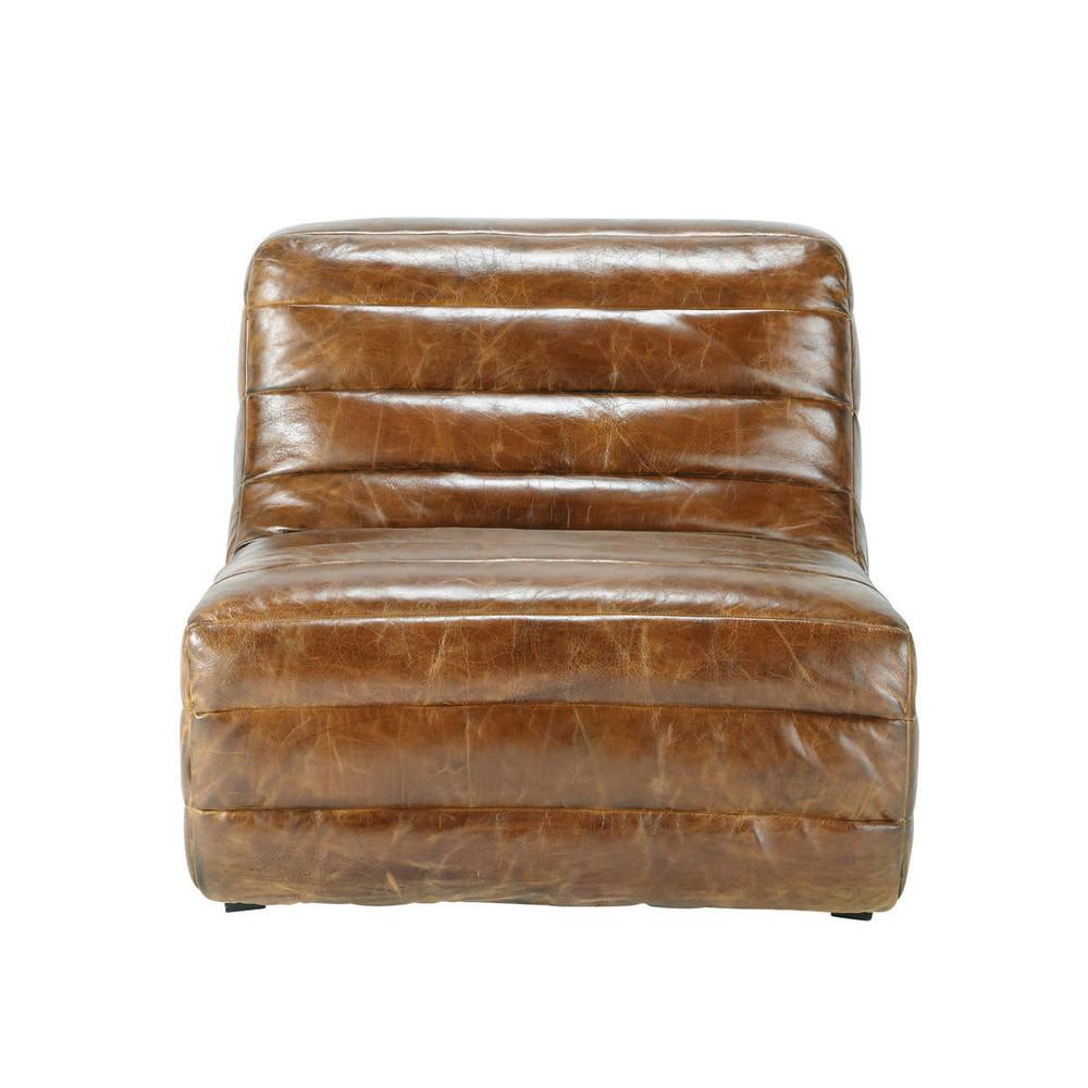 Fauteuil cuir marron vintage stuttgart maisons du monde for Fauteuil cuir